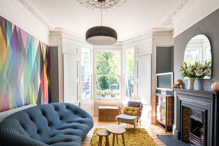 Ligne Roset Ploum sofa, Cole & Sons Circus wallpaper, Ercol, Flos Smithfield light. Photos by Seb Barros