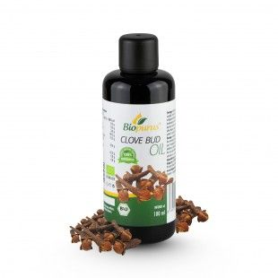 Certified Organic Cold Pressed Clove Bud Oil 100ML Biopurus The oil has unique anaesthetic effects – it lowers the sensitivity of the affected spot, alleviates itching and regenerates the skin. It is good for long-term use, it helps to relieve toothache (we recommend it for little babies to relieve sore gums) and supports wound-healing. The oil has beneficial effects on air passages and helps against bronchitis. It is applied in drops...
