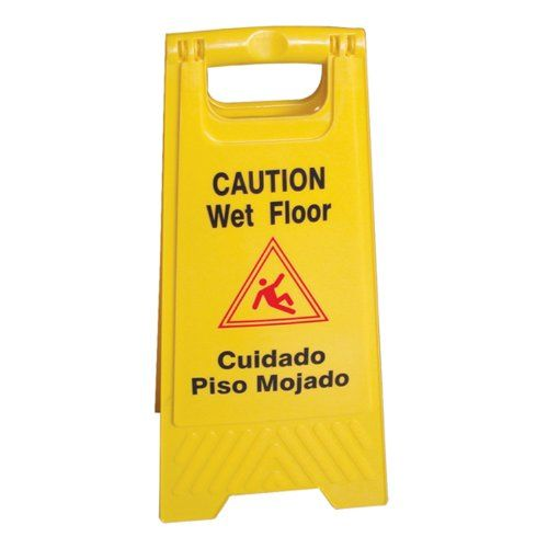 """#Excellante """"Caution Wet Floor"""" Plus In Spanish """"Culdado Piso Mojado"""" Sign, Yellow, 24 X 12 Inch Fold Up, Plastic. This yellow two-sided design is easy to read a..."""