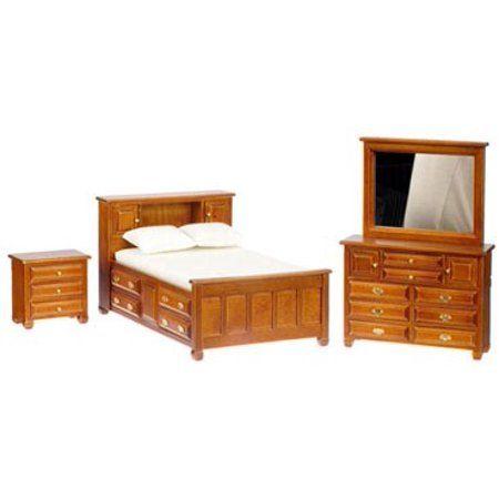 Dollhouse Walnut Double Bedroom Set #masterbedrooms Master
