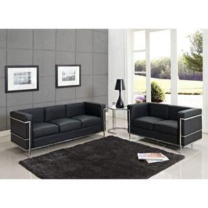 Modway EEI-945-BLK Furniture Charles Petite 3 Piece Sofa Set in Black