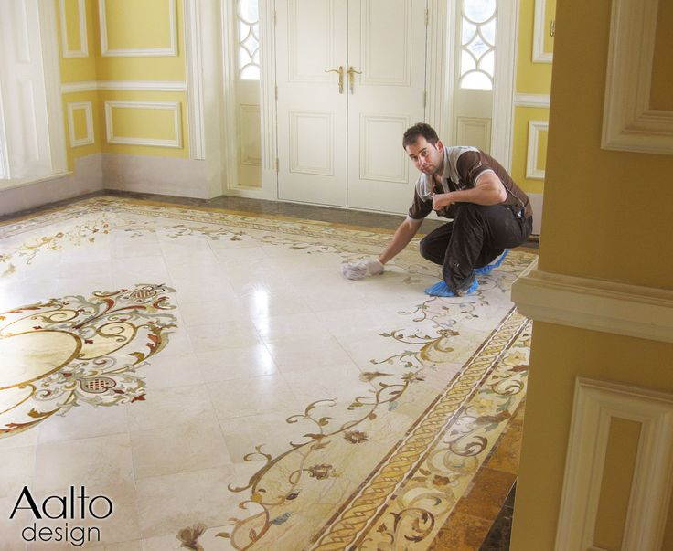 Upon completing the installation of this entryway, the installer applies a coat of marble sealer. This can be done once a year to protect the floor.