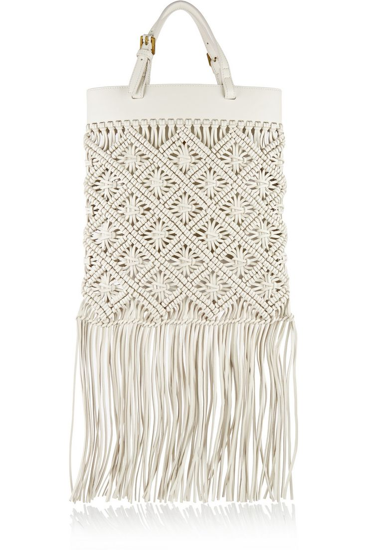 Tory Burch | Fringed macramé leather tote | NET-A-PORTER.COM