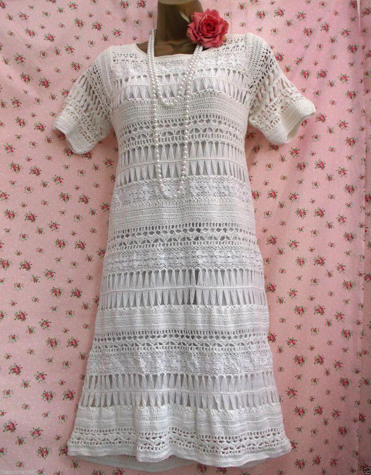 Oasis UK 12 Vintage Style White Crochet Lace Knitted Ivory Dress Boho Wedding   eBay