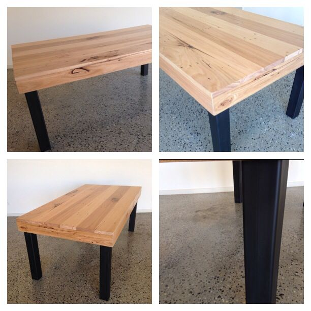 https://www.etsy.com/shop/BoatyardDesign Beautiful Quality Built handmade timber table.  Constructed of recycled mixed Hardwood Timber with resin filled sap holes, old nail holes, knots and grain patterns.  Top finished in an extra matt finish.  Unique square steel leg design finished in a 'flat black'  Length 1850mm Width 990mm Height 760mm  Further photos available on request.  Please contact me on 0401046006 to discuss shipping costs.  Pick up San Remo, Victoria.