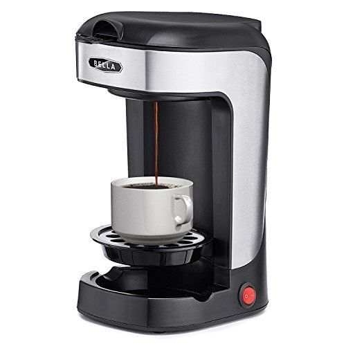 Single Serve 1 Cup Coffee Maker Black Stainless steel Brewer Machine System 14oz #BELLA