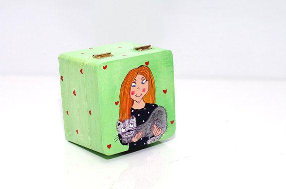 Small jewelry box - Wood jewelry box - Gift box - Wooden jewelry box - Jewelry storage - Hand painted jewelry box - Wooden jewelry case - Girl jewelry box