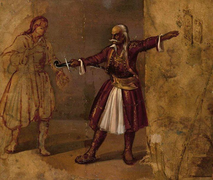 Ο Θ. Κολοκοτρώνης ορκίζει τον γιο του, σε έργο του Διονύσιου Τσόκου