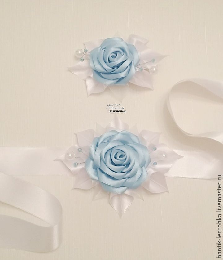 """Купить Пояс для платья + зажим для волос """"Лазурь"""" - голубой, резинка с цветком, резинка для девочки"""