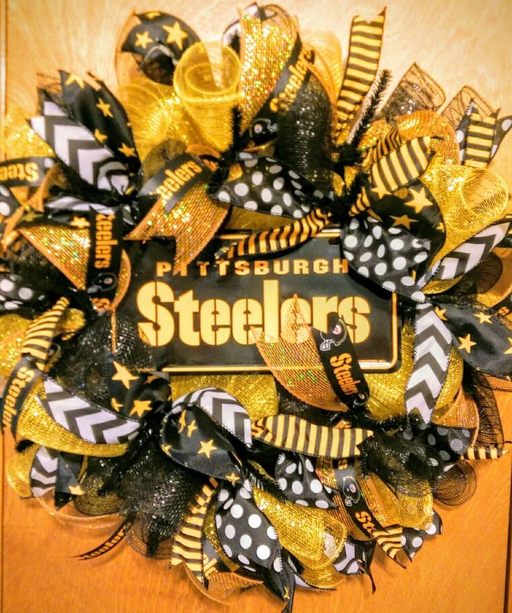 Pittsburgh Steelers Wreath by Whimsy Wreaths www.facebook.com/whimsywreathsholidaydecor