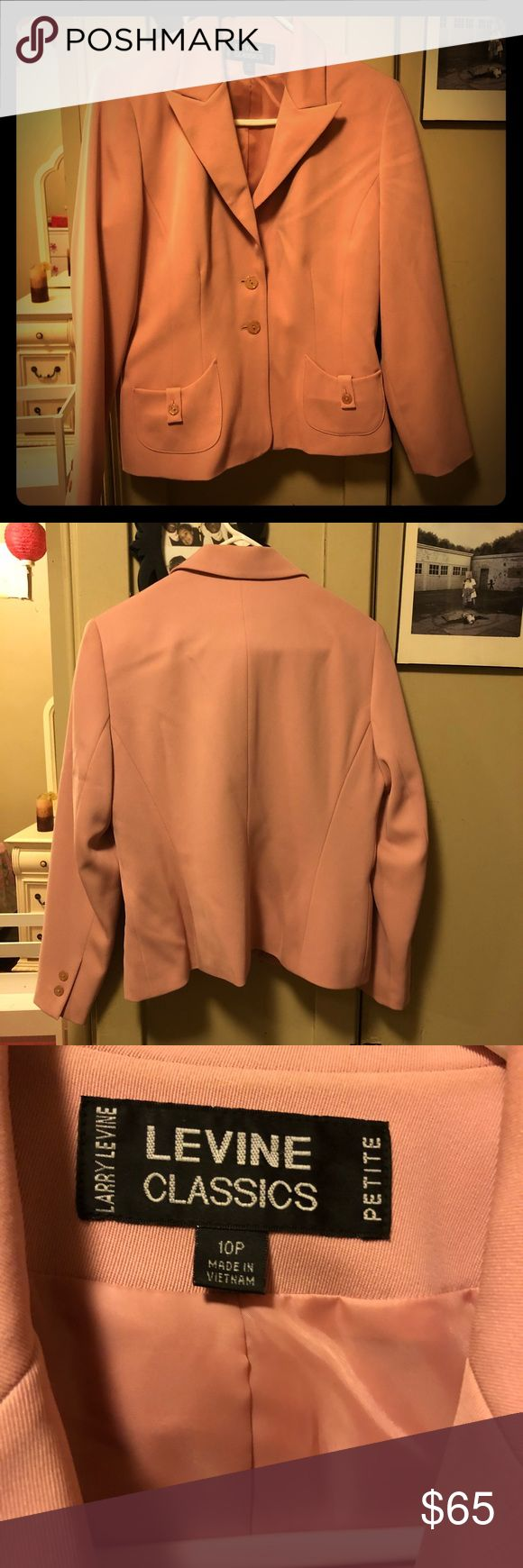Larry Levine Classics Flirty, Preppy Pink Blazer This vintage piece is so cute, it's like Prep school meets Mad Men fun and flirty! Super cute pockets, that are functional, and pretty shiny, unique buttons. The darts show off your figure. It is a size 10 Petite, I wanted to let you know. I listed the matching skirt separate you can buy what you like! Larry Levine Classics Jackets & Coats Blazers