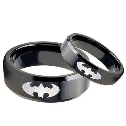 Black Tungsten Flat Satin BATMAN Laser Engraved Wedding Ring Set