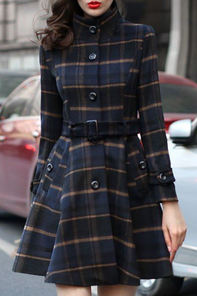 Stand Neck Plaid Skirt Coat BLUE: Jackets & Coats | ZAFUL