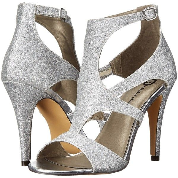 Michael Antonio Real - Glitter (Silver) High Heels (175 DKK) ❤ liked on Polyvore featuring shoes, silver, silver strap shoes, high heeled footwear, silver strappy shoes, silver open toe shoes and glitter shoes