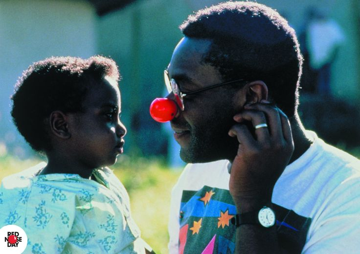 Lenny Henry on a visit to Ethiopia for the first ever Red Nose Day in 1988.