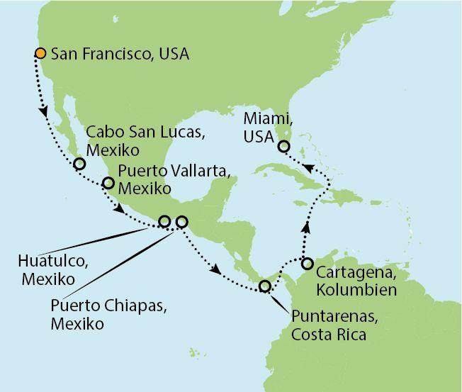 NORWEGIAN SUN Kreuzfahrt - USA, MEXIKO, COSTA RICA UND PANAMA KANAL 20 Nächte 3.699 p.P. inklusive Flug