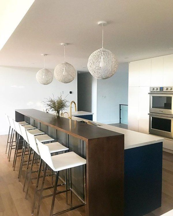 12 Foot Island With Raised Wood Bar Ledge Across The Length Water Fall Down The Sides Breakfast Bar Kitchen Kitchen Island With Sink Raised Kitchen Island