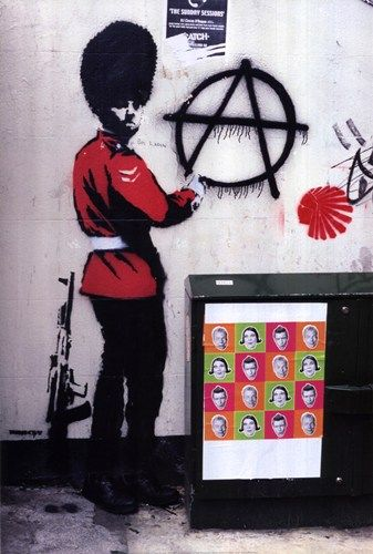 Caught Red-Handed Art Print by Banksy