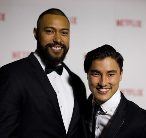 Khans sons Remy Hii and Uli Latukefu giving us their best smiles on the red carpet.