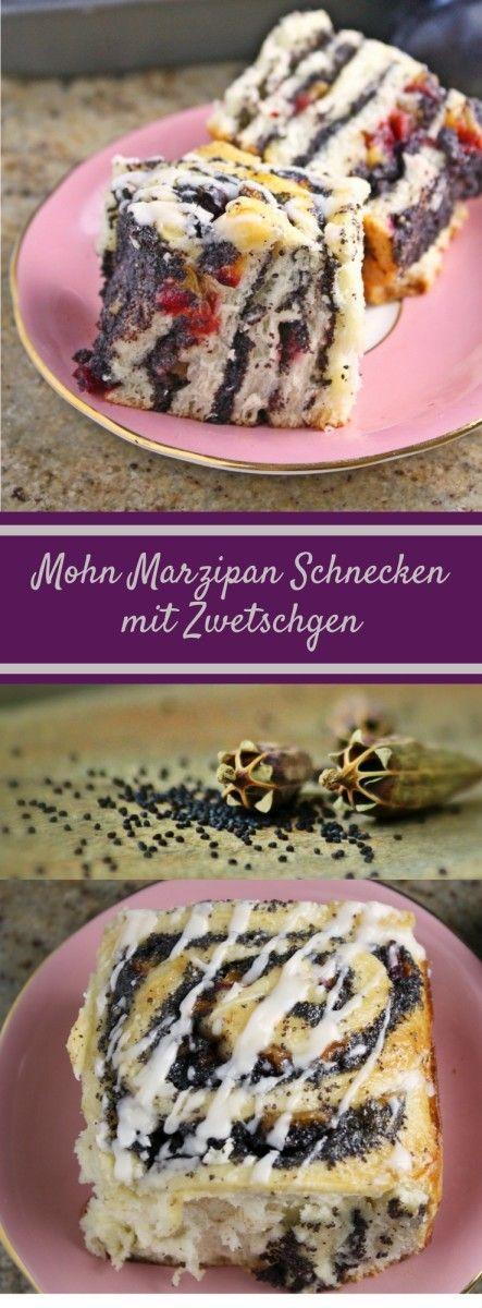 Mohn Marzipan Schnecken mit Zwetschgen und Rumguss / Plum, Marzipan & Poppy…