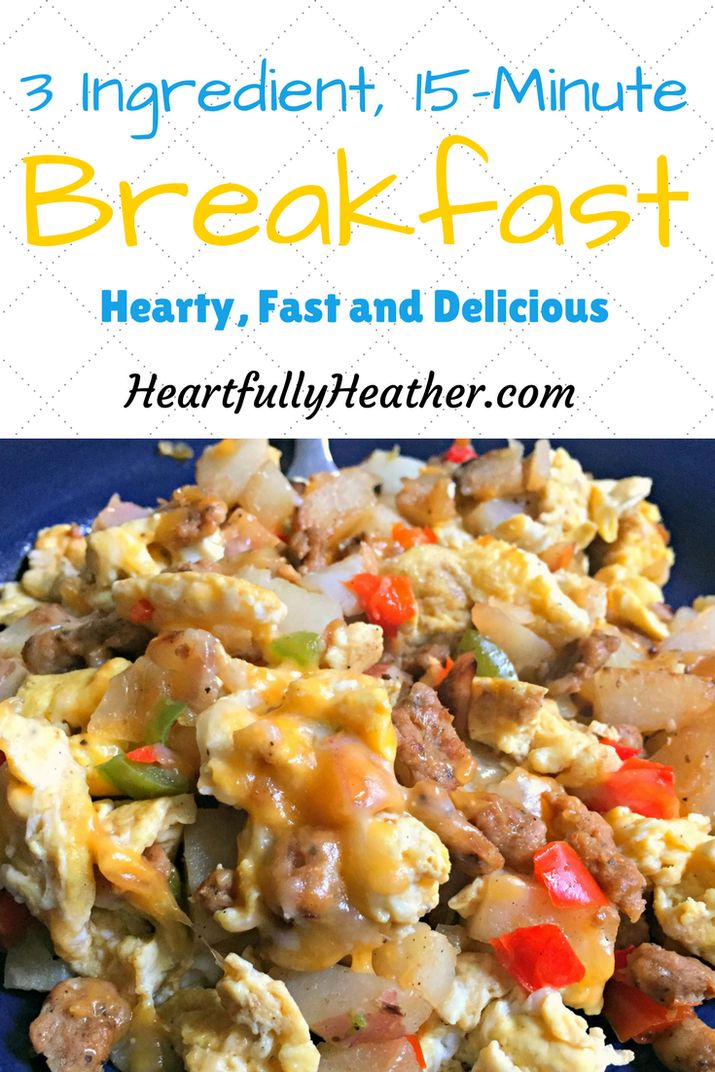 A hearty breakfast you can make in 15 minutes or less. Make ahead of time and put in tortillas for breakfast burritos through the week.