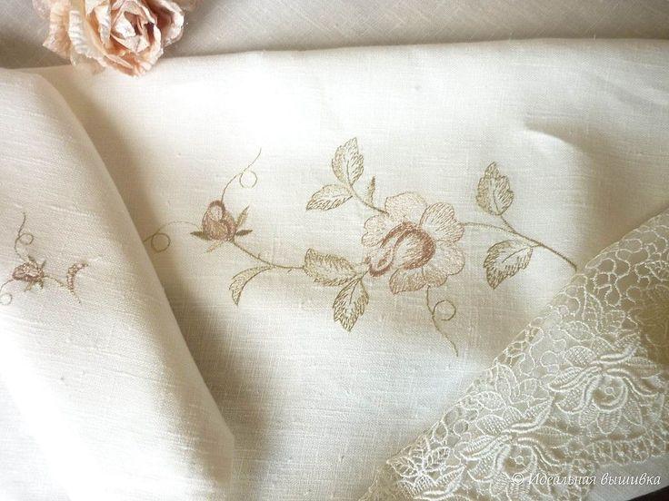 """Купить Столовый комплект """"Роза - пастель"""" - идеальная вышивка, столовое белье, столовый текстиль"""