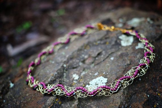 Golden Beaded Woven Crochet Necklace by nZuriArtDesigns on Etsy