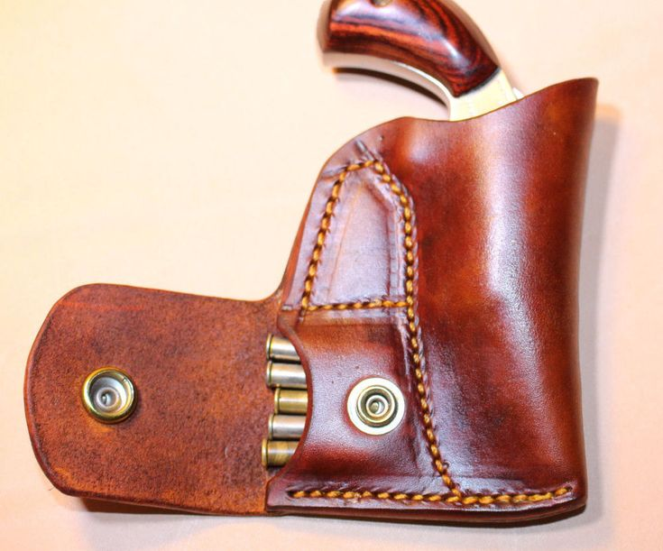 Pocket holster with ammo pouch for NAA 22 Mag 1 1/8 or 1 5/8 - Leather tan #Southerncharmholsters #Pocket