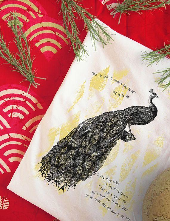 Peacock King Organic Fairtrade t-shirt women's tops by KUNDAshop www.kunda.gr #tshirts #organictshirts #fairtrade #organiccotton #etsy #etsygreekstreetteam #ethicalfashion  #EtsyGifts #inspiring #peacocks #birds #kings #illustration #design #poem