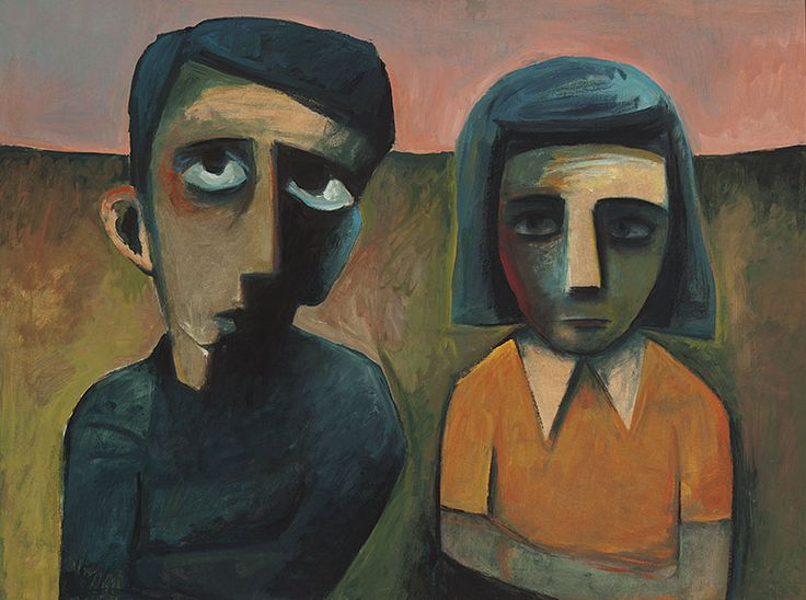 CHARLES BLACKMAN  born 1928  Double Portrait   oil on paper on board  91.5 x 122.0 cm