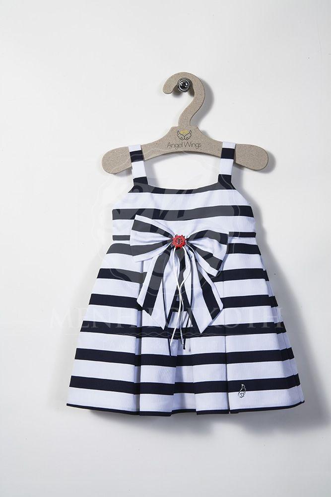 Βαπτιστικά ρούχα προσφοράς  για κορίτσι της Angel Wings φόρεμα σε ναυτικό στυλ