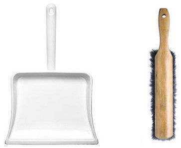 Enamelware Dustpan & Hand Broom - modern - mops brooms and dustpans - Kaufmann Mercantile