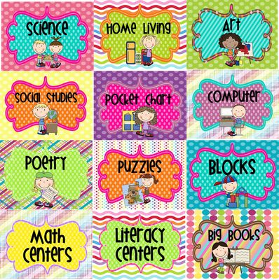 Classroom Organization - FREE Center Signs!
