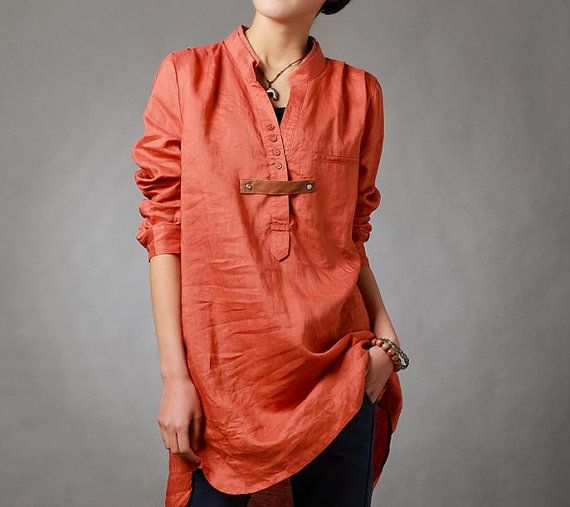 Spring orange shirt linen asymmetric long sleeved shirt by MaLieb, $89.00