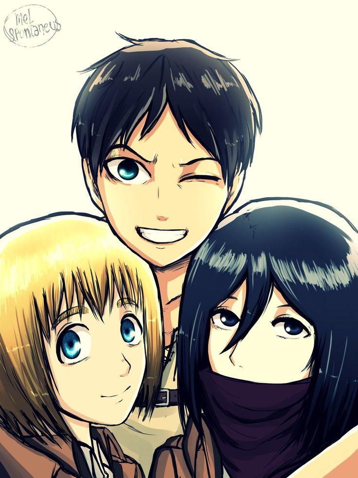 attackontitan SNK shingekinokyojin Armin, Mikasa