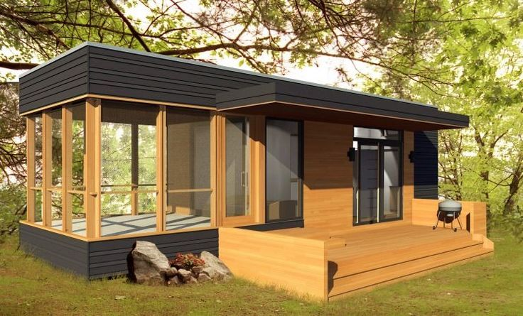This is the 288 sq. ft. Solo 24 Bunkie Modern Prefab Tiny Homeby MiniHome (a division of Altius Rapid Systems Architecture). From the outside, you'll see that there's a covered outdoor…