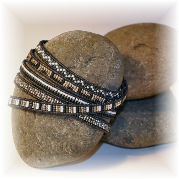 Handcrafted Cool 5 wrap bracelet with black leather by OnAWhimInc