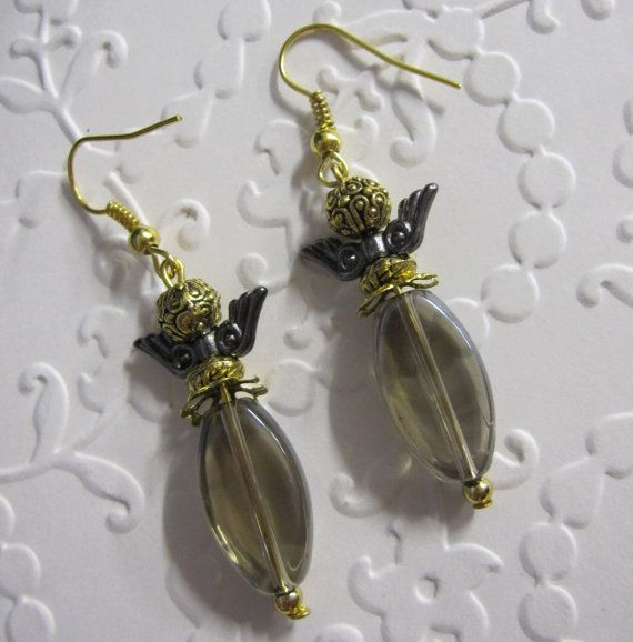 Smoky Grey Drop Earrings with Gold finish fittings and Angel wings.