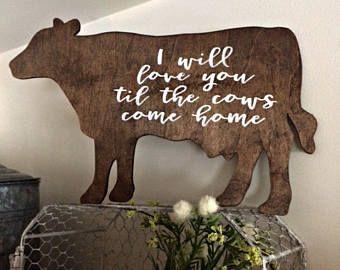 COW SIGN | Farmhouse Decor | Kitchen Decor | Home Decor | Cottage Kitchen | Rustic Home Decor | Wood Sign | Valentine's Day