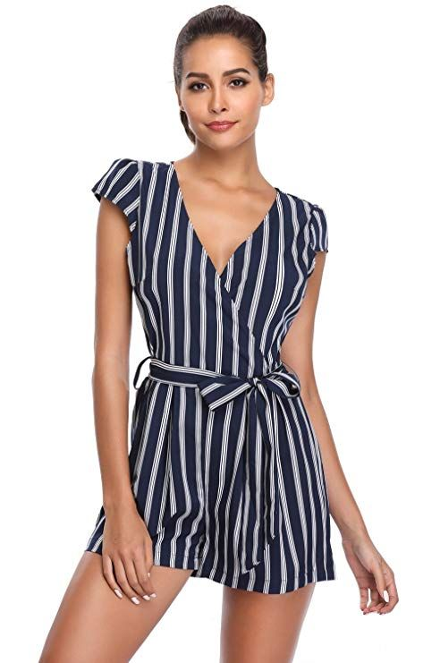 dda7c2808a1 MISS MOLY Rompers for Women Deep V Neck Cap Short Sleeves Crossover Mid  Rise Casual Vertical Jumpsuit with Belt   summer romper women   Chic Fashion  for ...