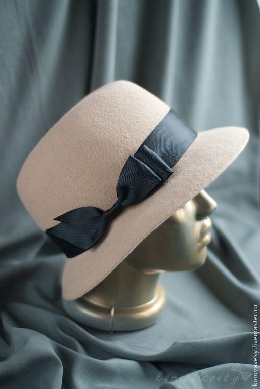 Купить Велюровая женская шляпа-федора - бежевый, шляпа, шляпа женская, шляпа из фетра, федора