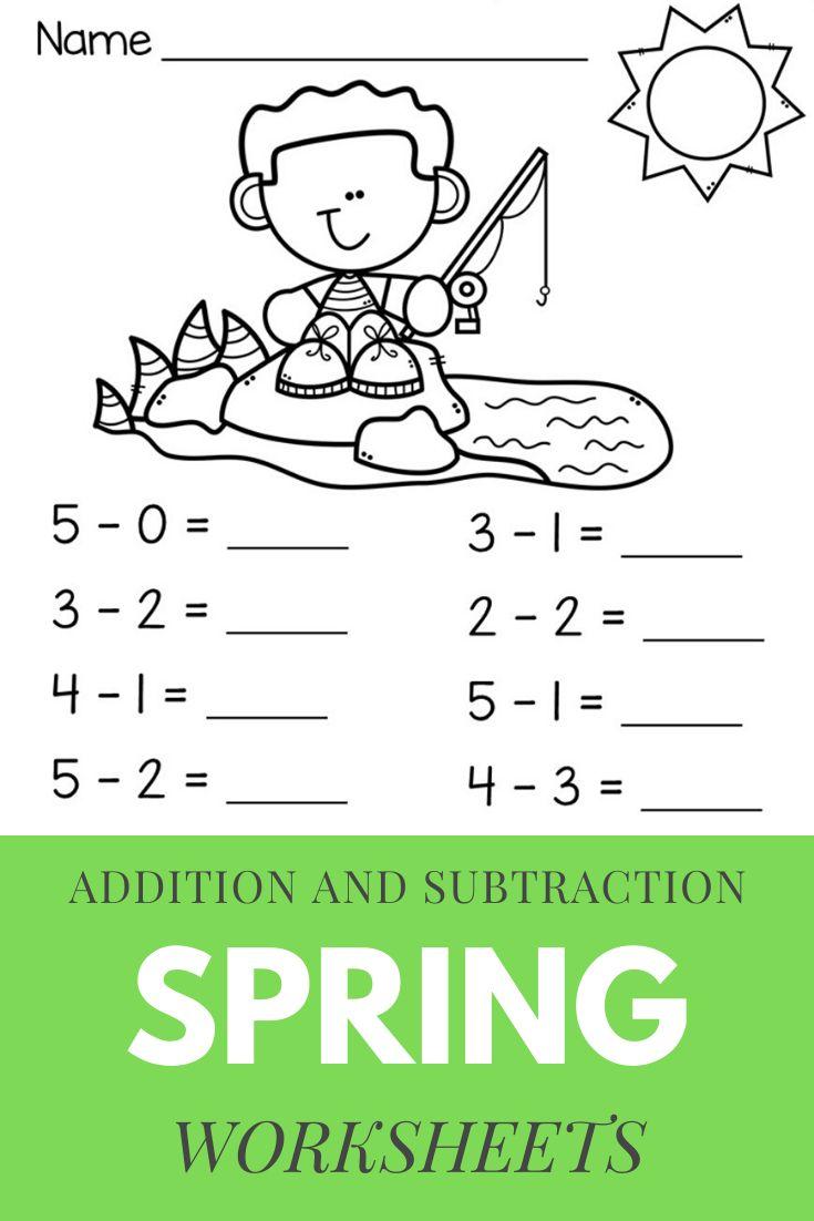 Spring Beginning Addition And Subtraction Worksheets Kindergarten 1st Grade Kindergarten Subtraction Worksheets Subtraction Kindergarten Addition And Subtraction Worksheets Beginning addition and subtraction