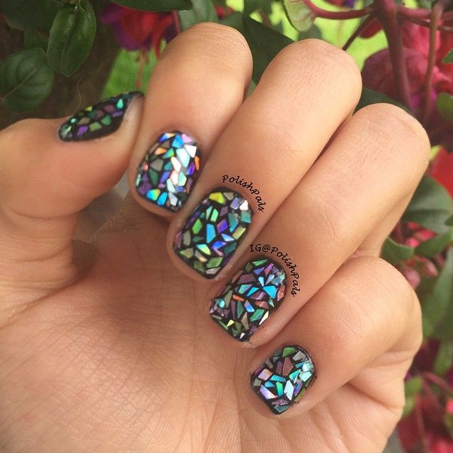 multi-colored shattered glass nails which kinda look like stained glass! FULL PICTURE tutorial on  polishpals.blogspot.com