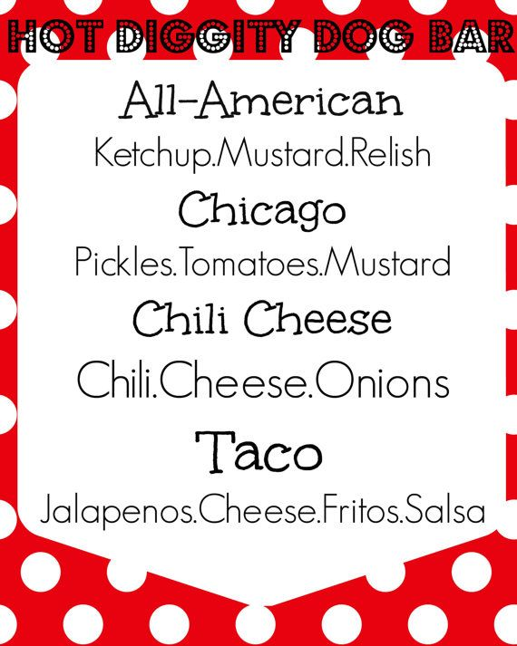 Hot Dog Bar Menu Printable Mickey Mouse by Littleyellowsewshop
