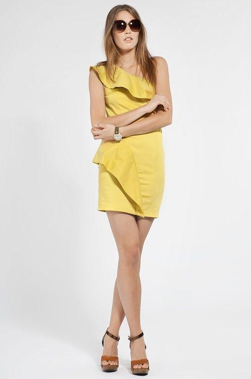Yoshe - Sukienka żółty - odzież damska marki yoshe - Answear.com