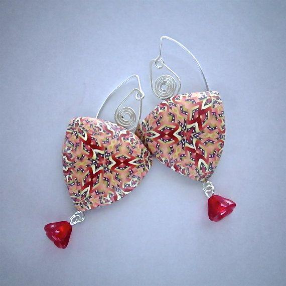 Kaleidoscope Earrings, Handmade Earring, Millefiori Earrings, Polymer Clay…