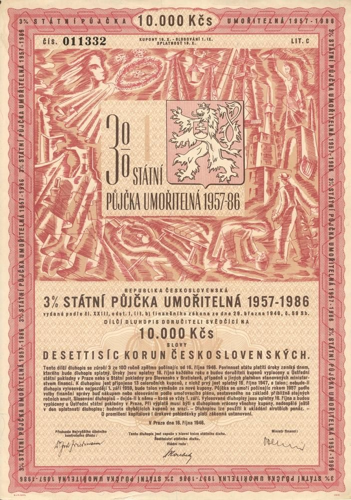 Státní půjčka umořitelná 1957 - 1986 na 10 000 Kčs. Praha, 1946.