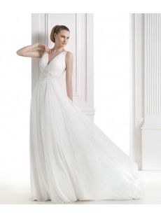 V-neck Chiffon Beading Sweep Train Wedding Dress