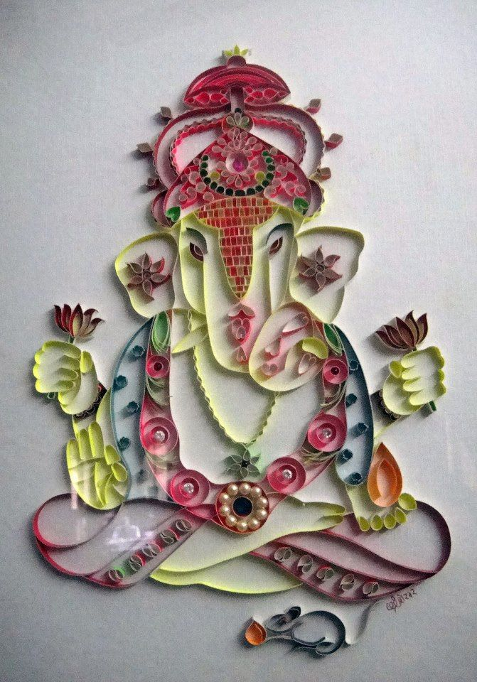 17 best images about ideas for quilled lord ganesha on for Paper quilling work
