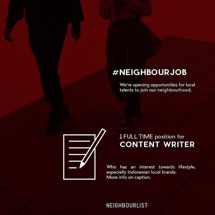 #NEIGHBOURJOB  Hello Neighbours. Were currently looking for a full-time Content Writer to join our neighbourhood.  Hit us up if you are: Based in Jakarta Interested in lifestyle and possess knowledge for Indonesian local brands and creative industries Able to write in English Creative minded and highly initiative Able to use Adobe Photoshop  We invite interested parties and qualified neighbours to submit your application to ga@neighbourlist.com or the listed Gmail account on our bio with…